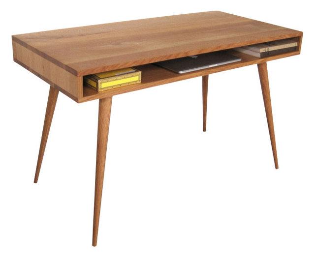 Mid Century Desk With Wood Legs 48 L X 24 W 29 H