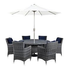 Summon 8-Piece Outdoor Wicker Rattan Sunbrella Fabric Dining Set, Canvas Navy