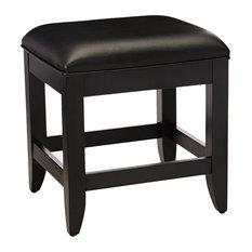 Vanity Benchin vinyl, Cushioned Seat and Slightly Flared Legs, Black Finish