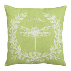 Dragonfly Printed Linen Pillow With Feather-Down Insert-Chartreuse Green