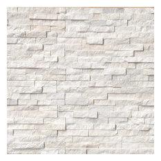 Arctic White Ledger Panel Natural Quartzite Wall Tile, White, 60 Pieces, Brick