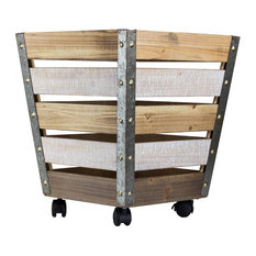 Wood and Metal Storage Crate With Wheels, Large