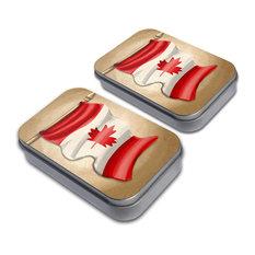 Vintage Canadian Flag - Canada Tin Set