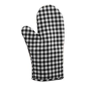 1-Pair Anti Scald Cotton Lattice Gloves, Kitchen Bakery Cooking Oven Mitts Black