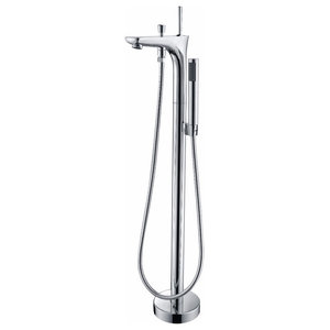 Kase 1-Handle Claw Foot Tub Faucet With Hand Shower, Polished Chrome