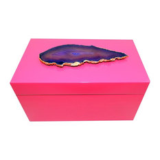 Grand Agate Lacquer Box, Pink and Purple