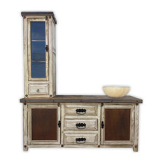 Woodland 72-inch Rustic Vanity With Tower Metal Panels