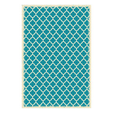 Quaterfoil Design Size Rug, 4'x6', Teal and White