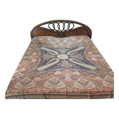 Mogul Interior - Pashmina Bedspread Orange Black Reversible Blanket India Bedding Bed Cover - Blankets