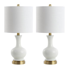 "Cox 22"" Glass and Metal Led Table Lamp, Set of 2, White and Brass Gold"