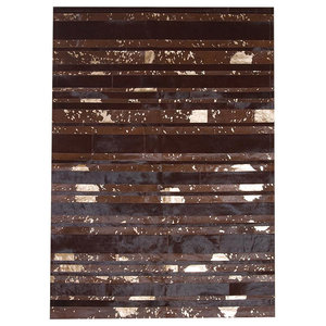 Patchwork Leather Striped Cowhide Rug, Brown/Gold Stripes, 140x200 Cm