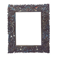 Mogul Interior - Consigned Antique Mirror Frame, Hand-Carved and Hand-Painted - Picture Frames