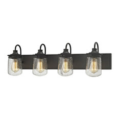Hamel 4 Light Vanity in Oil Rubbed Bronze with Clear Seedy Glass