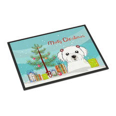 "Christmas Tree and Maltese Indoor/Outdoor Mat, 18""x27"""