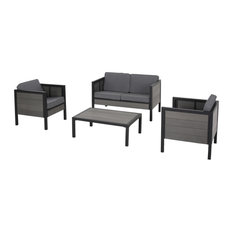 McKinley Outdoor 4 Seater Chat Set With Cushions, Black/Gray