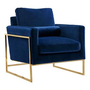 Mila Velvet Chair, Navy