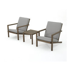 3-Piece Lester Outdoor Acacia Wood Chat Set With Cushions, Gray
