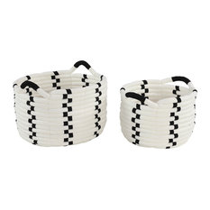 Large Round Black and White Checkered Cotton Rope Storage Baskets, 2-Piece Set