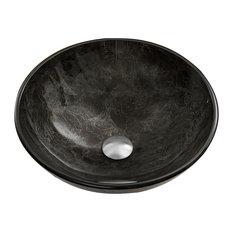 VIGO Sheer Sepia Glass Vessel Bathroom Sink, Gray Onyx
