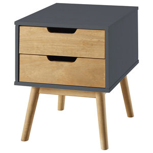 2-Drawer Nightstand, Anthracite