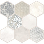 "Emser Tile - Vice & Virtue Ivory 18""x18"" Porcelain Floor and Wall Tile Tile, Set of 9 - Vice & Virtue features interlocking tiles that seamlessly connect for a consistent hexagon shape. Virtue's eclectic mix of ornate patterns coordinate with Vice's smooth textures for an accent pop, or bold, all-over patterning. An octagonal shape blends the craftsmanship a mosaic with the ease of larger-format tiles."