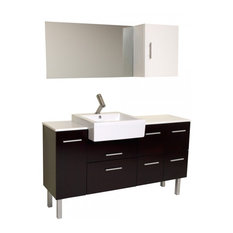 Fresca Serio Espresso Modern Bathroom Vanity With Mirror and Side Cabinet