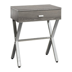 Monarch Night Stand Dark Taupe Chrome Metal