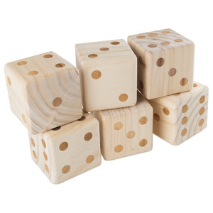 Giant Wooden Yard Dice Outdoor Lawn Game, 6 Dice, Carrying Case by Hey! Play!