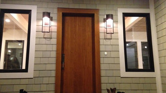 Vertical planked front door