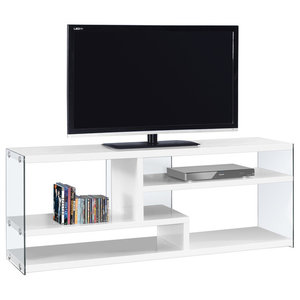 60 Tv Stand With Tempered Gl Glossy White