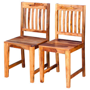 VidaXL Dining Chairs, 2-Piece, Solid Sheesham Wood