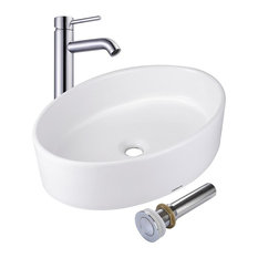 YesHom   Oval Porcelain Ceramic Vessel Sink With Drain And Faucet   Bathroom  Sinks