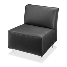 Lorell Fuze Modular Series Black Leather Guest Seating