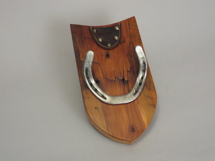 #R15034 Coat Rack Reclaimed Ambrosia Maple, horseshoes, leather.