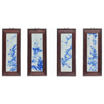 Golden Lotus - Chinese Blue White Porcelain Flower Birds Scenery Wall Panel Set Hws976 - This is a four pieces porcelain painting wall decorative panel set. The blue and white part is made of porcelain and the frame is made of wood stain in dark brown color. Every single panel has graphics about flowers and birds.