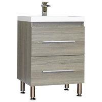 "Ripley Collection 24"" Single Modern Bathroom Vanity Set, Gray"