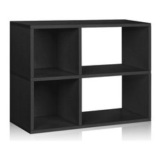 Chelsea Bookcase Cubby Bookshelf, Tool Free Assembly Eco zBoard, Black
