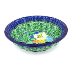 """Polish Pottery 13"""" Stoneware Fluted Bowl Hand-Decorated Design"""