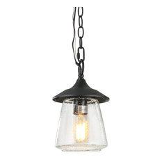 1-Light Outdoor Hanging Lights, Black
