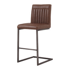 Ronan PU Leather Counter Stools, Set of 2, Antique Cigar Brown