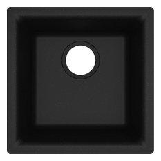 "Elkay Quartz Classic 15-3/4"" Single Bowl Dual Mount Bar Sink, Black"