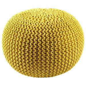 Cotton Rope Pouf, Yellow