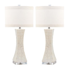 Shelley Concave Table Lamp in White - Set of 2
