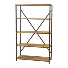 "GDFStudio - Relee 34"" Wide Natural Stained Acacia Wood Bookcase With Iron Accents - Bookcases"