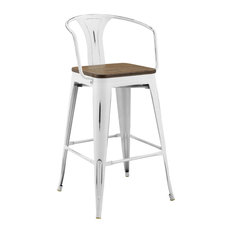 Aluminum Bistro Bar Stool With Arms And Bamboo Seat White