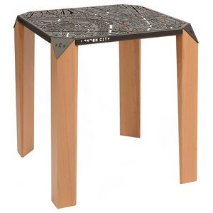 London City Map Side Table, Umbra Grey