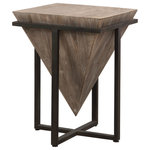 Uttermost - Bertrand Contemporary Gray Wash Wood Accent Table - Imagine the eye-catching touch you'll add to your home with this unique Bertrand Contemporary Gray Wash Wood Accent Table. The upside down pyramid constructed from aged fir wood is finished in a heavy hand applied gray wash and nestled into an iron base finished in aged black.