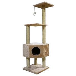 """Ipet 51"""" Cat Tree Condo Scratching Post Beige"""