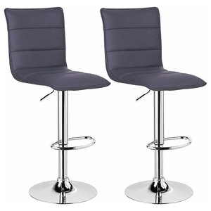 Bar Stools Upholstered With Faux Leather With High Backrest, Set of 2, Grey
