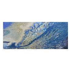 """Abstract Mosaic Art of Ocean and Waves, 47""""x118"""""""